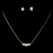 Necklace Earring Set 70734 Gold Clear