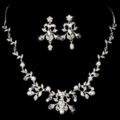 Silver Clear Bridal Jewelry Set NE 7208