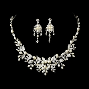 Delightful Silver Clear Crystal & Freshwater Pearl Floral Necklace & Earring Set 6206