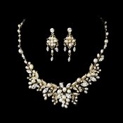 Delightful Gold Clear Crystal & Freshwater Pearl Floral Necklace & Earring Set 6206