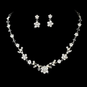 Necklace Earring Set NE 7203 Silver with Freshwater Pearl