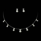 Necklace Earring Set 71408 Silver White ***1 Piece Left***