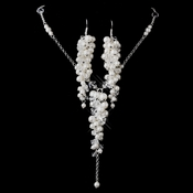 Silver Pearl & Austrian Crystal Necklace & Earrings Set NE 8702