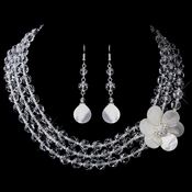 Crystal & Mother-Of-Pearl Flower Necklace & Earrings Set NE 8700