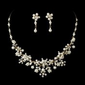 Beautiful Gold Ivory Pearl Bridal Jewelry Set NE 8001