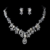 Pearl & Crystal Bridal Jewelry Set NE 8345 Silver