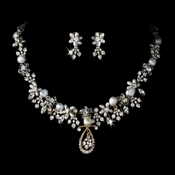 Pearl & Crystal Bridal Jewelry Set NE 8345 Gold
