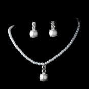 Gorgeous Children's Silver Clear Rhinestone & White Pearl Necklace & Earring Set 6564