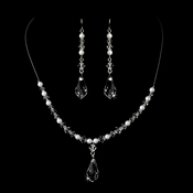 White Pearl Necklace and Earring Set 8354