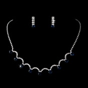 Silver Necklace & Earring Set with Sapphire Crystals 71534