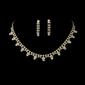 Gold & Clear Rhinestone Necklace & Earring Set NE 362