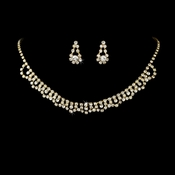 * Necklace Earring Set NE 519 Gold Clear