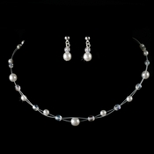Children's Silver White Pearl & Clear Crystal Bead Jewelry Set 8444