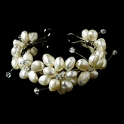 Freshwater Pearl Flower Bracelet with Touch of Swarovski Crystal