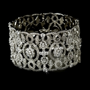 Cubic Zirconia Bridal Cuff Bangle Bracelet 8349 Silver