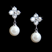 Cubic Zirconia Bridal Earring with Lustrous Pearl Drop E 5248