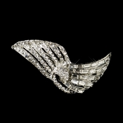 Antique Silver Clear Rhinestone Vintage Deco Style Clip 102
