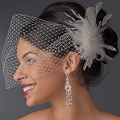 * White or Ivory Bridal Cage Veil Feather Accent  Clip 1027
