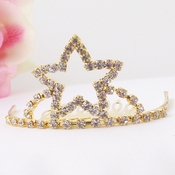 Gold with Clear Stones Star Childs Tiara HPC-714