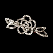 *Rhodium Silver Clear rhinestone rose hair Barrette 4010