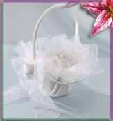 Flower Girl Basket 0051 (White or Ivory)