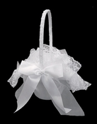 Flower Girl Basket 0052 (White or Ivory)