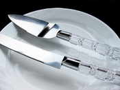 Wedding Cake Server Set with Crystal Acrylic Handle Accented with Silver CS 908