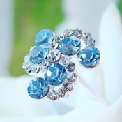 Lt Blue Crystal Swirl Bouquet Jewelry
