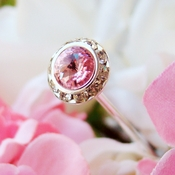 Pink Crystal Pave Button Bouquet Jewelry