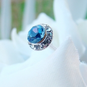 Lt Blue Crystal Pave Button Bouquet Jewels