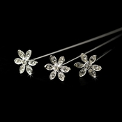 Crystal Flower Bouquet Jewelry 106 Silver Clear (Sold Individually)