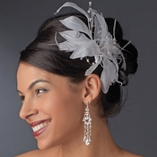 * Feather Fascinator Comb 8840 (White or Ivory)