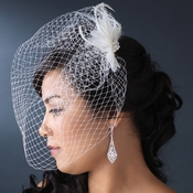 * Dainty Pearl & Feather Flower Fascinator & Cage Veil Comb/Clip in White or Ivory 7797