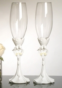 Bride & Groom Wedding Toasting Champagne Flutes FL 420