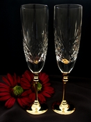 Wedding Toasting Crystal Flutes w/ Gold Stem 87131