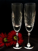 Wedding Toasting Crystal Flutes w/ Silver Stem  8713