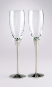 Elegant Silver Wedding Toasting Flutes with Crystals FL 21082