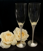 Glass Wedding Toasting Flutes with Matt Silver Crystal Stem FL 21083