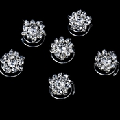 24 Captivating Silver Clear Rhinestone Flower Twist-Ins 0206