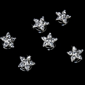 12 Wonderful Silver Clear Rhinestone Star Twist-Ins 0119