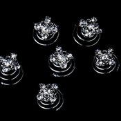 24 Gorgeous Silver Clear Rhinestone Flower Twist-Ins 0092
