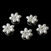 24 Sweet White Pearl & Clear Rhinestone Flower Twist-Ins 0176