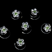 12 Delightful Silver Clear & Green Rhinestone Flower Twist-Ins 01