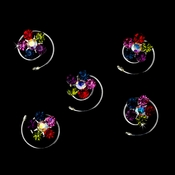 12 Delightful Silver Multi-Color Rhinestone Flower Twist-Ins 01