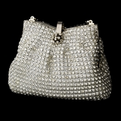 Glamorous Silver Clear Crystal Evening Bag 5