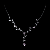 Lovely Silver Pink CZ Vine & Leaf Necklace 3403 **3 left**