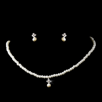 * Children's Necklace Earring Set C 4814 Silver Ivory