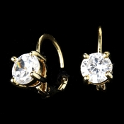 Gold Lever Back Cubic Zirconia Solitaire Earrings E 6000 (1 Left)