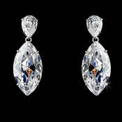 Antique Silver Plated Rhinestone Glistening Earring E 5400