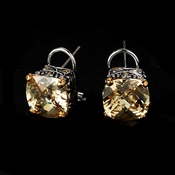 Antique Silver Champagne CZ Earring Set $ 4115